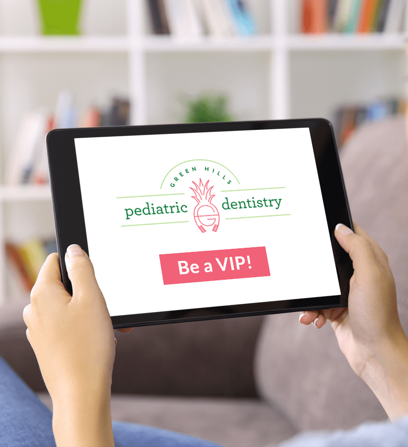 """Mobile and tablet image of Green Hills Pediatric Dentistry logo on a tablet with the text """"Be a VIP Parent"""""""