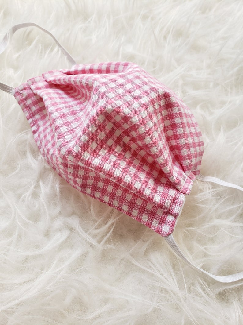 Pink & white gingham handmade cotton face cover mask image 1