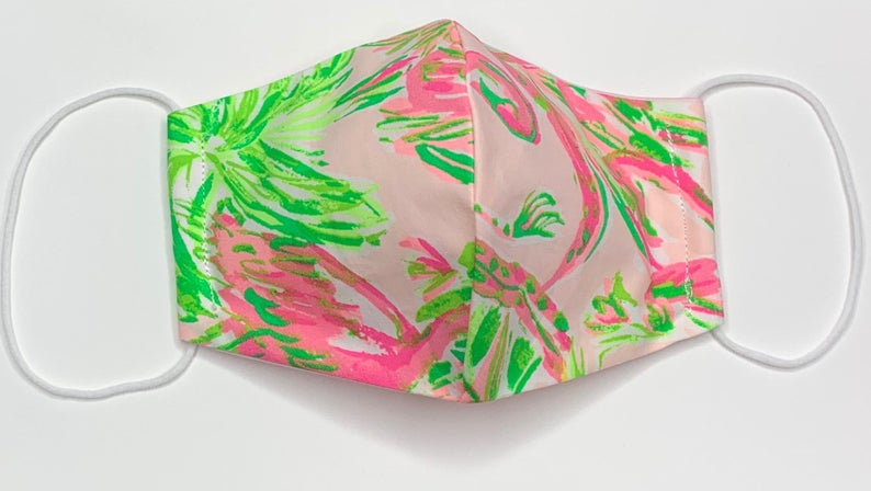 Lilly Pulitzer Face Mask in On Parade Pink and Green image 0
